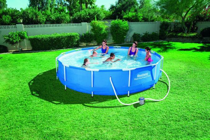 Bestway piscina fuoriterra fuori terra rigida pompa 366x76cm 56416 gamma 2016 ebay - Piscina plastica rigida ...