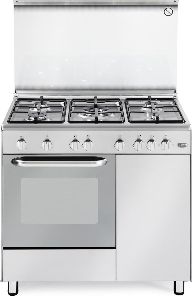 De longhi cucina a gas 5 fuochi forno a gas con grill for Cucina 5 fuochi 70x60