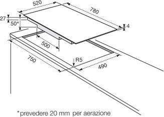 Electrolux piano cottura incasso induzione vetroceramica 4 for Misure piano cottura 4 fuochi