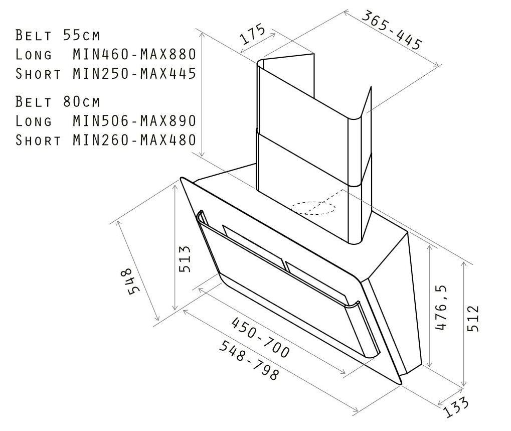 Cappa elica belt ix f 80 prf0033852 cappa cucina 80 cm - Cappa cucina filtrante ...