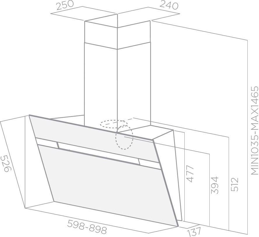 Elica cappa cucina aspirante parete 90 cm x 14 cm stripe - Cappa cucina 90 cm ...