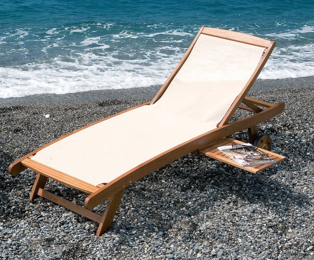Sdraio da giardino in legno lettino textile arredo - Lettino da mare prendisole per spiaggia giardino in ...