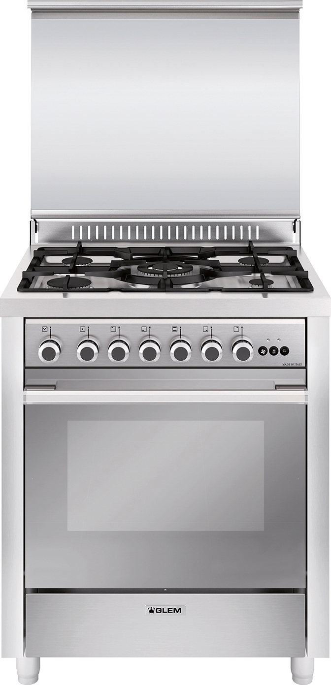 Cucina a gas glem gas m765mi forno elettrico ventilato for Cucina 5 fuochi 70x60