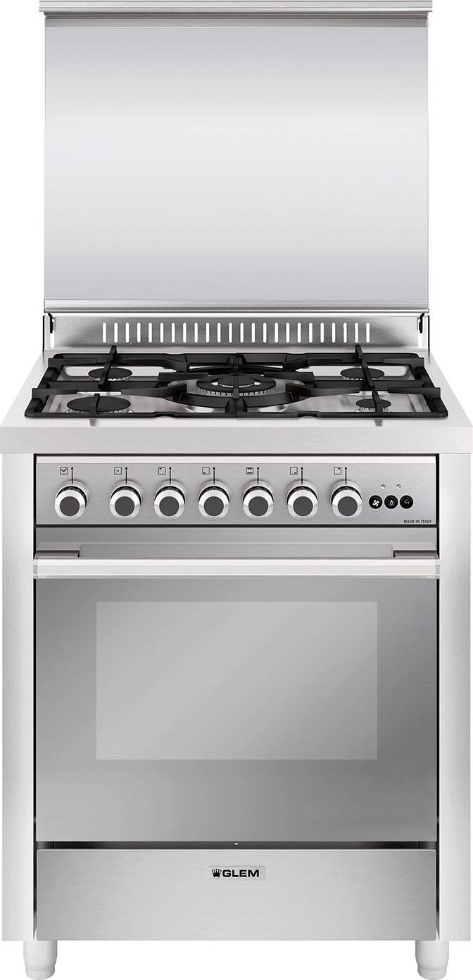 Glem gas cucina a gas 5 fuochi forno a gas multifunzione for Cucina 5 fuochi 70x60