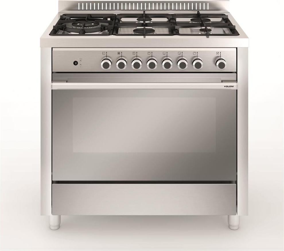 Cucina a gas glem gas m96tvi forno a gas ventilato 90x60 - Larghezza cucina ...