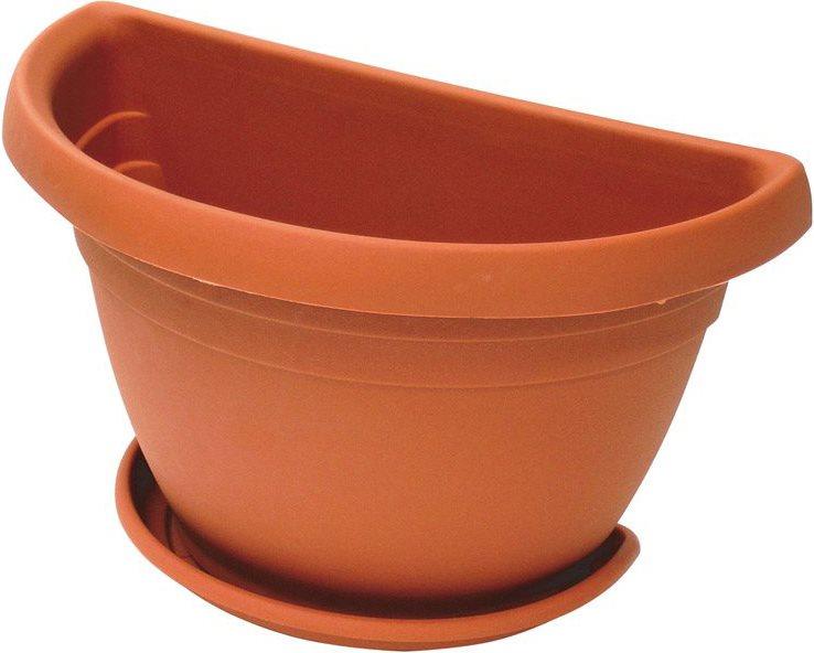 Ics vaso in plastica per piante fiori a parete da esterno giardino con sottovaso cm 40x23x26 - Piante da vaso esterno ...