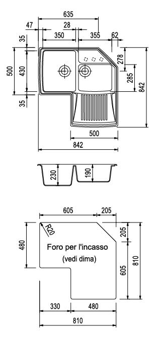 Plados lavello cucina angolare angolo 2 vasche for Lavello cucina angolare