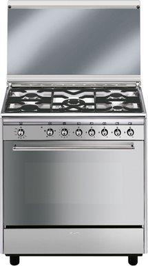 Smeg cucina a gas 5 fuochi forno a gas ventilato con grill larghezza x profondit 80x50 cm - Cucina smeg 5 fuochi ...