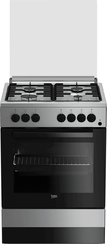 beko cucina a gas 4 fuochi forno elettrico grill 60x60 cm inox ... - Cucina 4 Fuochi Forno Elettrico
