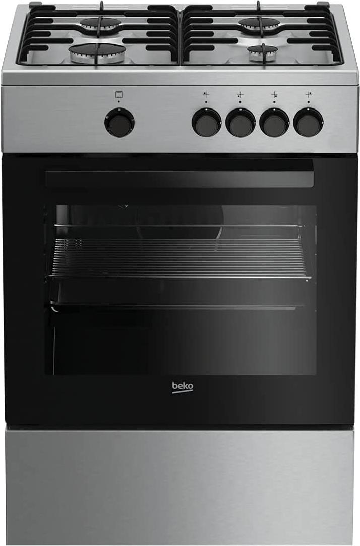 beko cucina a gas 4 fuochi forno a gas grill 60x60 cm coperchio inox fsg62000dx