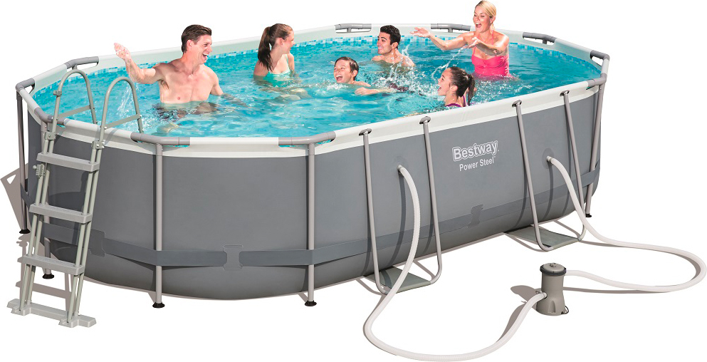 Bestway piscina fuoriterra fuori terra ovale 488x305x107h for Piscine 4x3