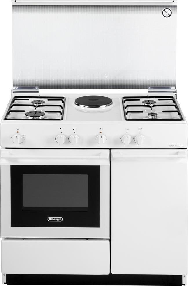 De longhi cucina a gas 4 fuochi forno elettrico grill 86x50 cm bianco sew 8541 n - Cottura forno a gas ...