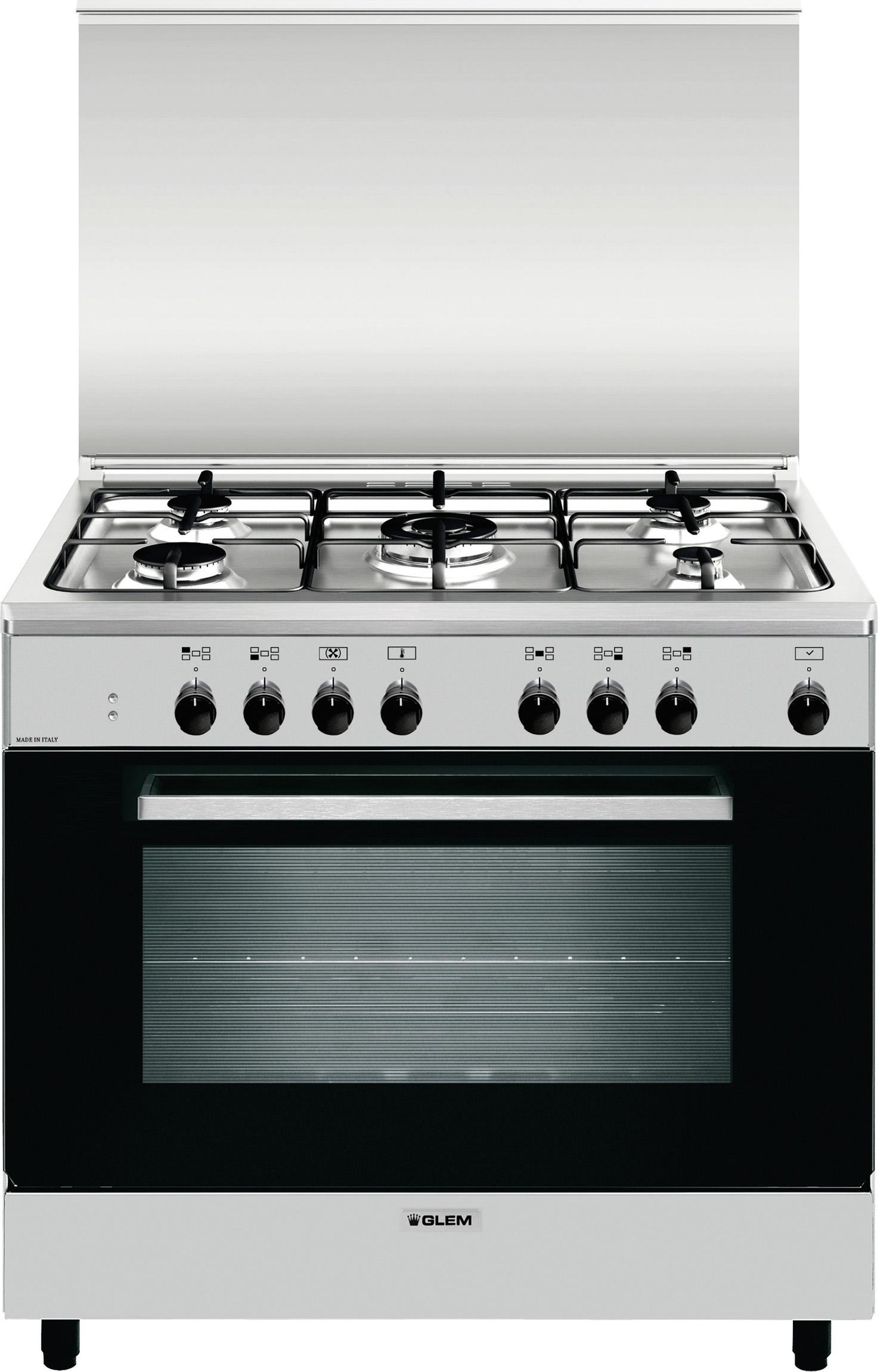 Glem gas cucina a gas 5 fuochi forno elettrico ventilato grill 90x60 cm a965mi6 ebay - Cucina con forno a gas ventilato ...