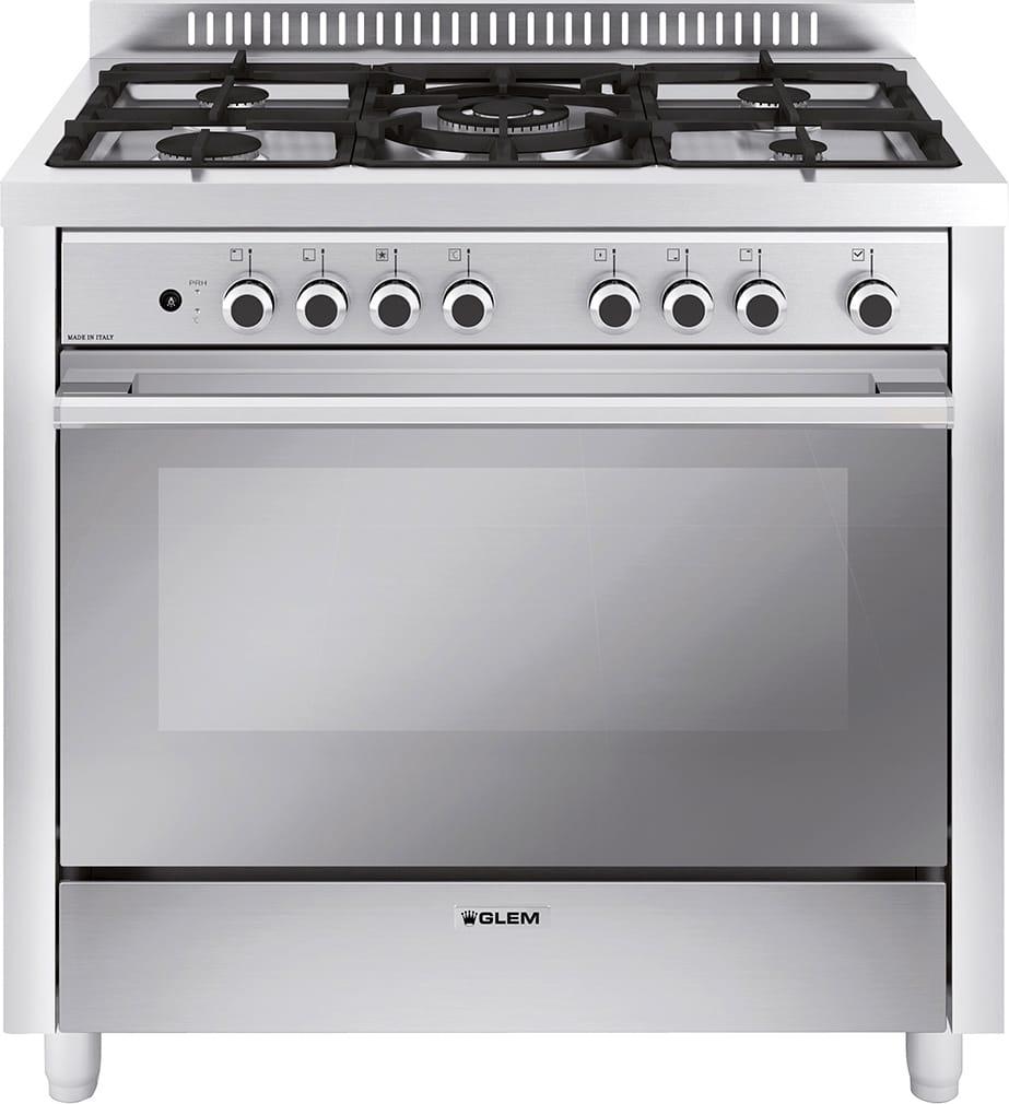 glem gas cucina a gas 5 fuochi forno elettrico ventilato grill 90x60 cm m965mi