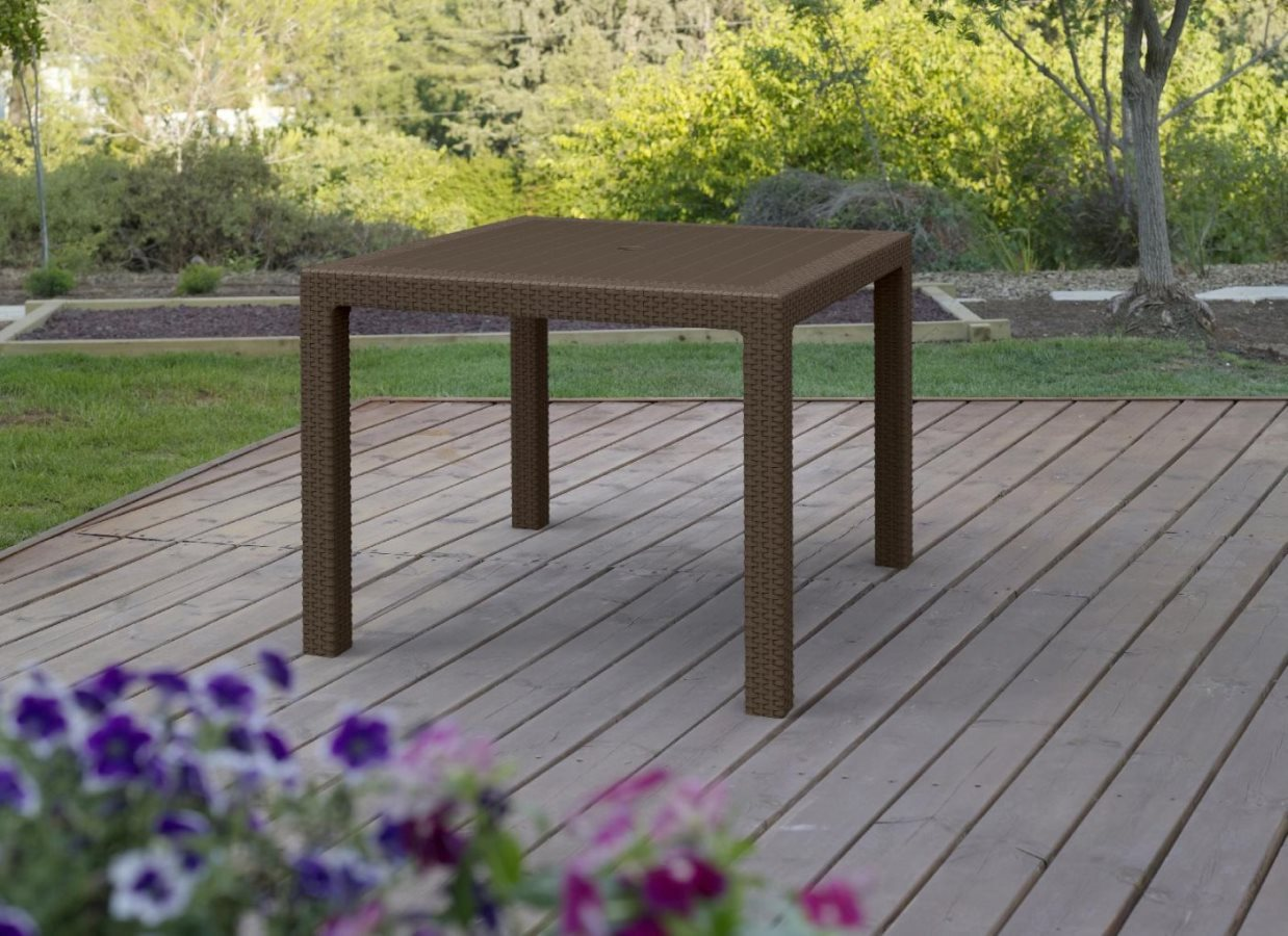Keter tavolo da giardino eff rattan tavolino 94x94x74h cm - Tavolo da giardino rattan ...