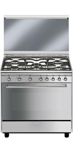 Smeg cucina a gas 5 fuochi forno a gas ventilato grill - Cucina a gas smeg ...