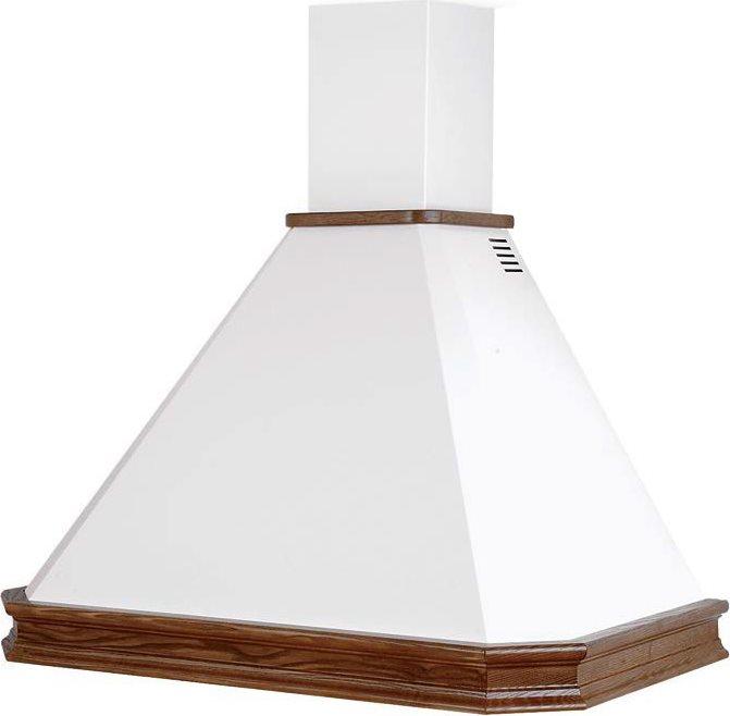 Cappa Cucina Filtrante / Aspirante a Parete Larghezza 90 cm Profondità 50  cm Trave Noce Scuro colore Bianco - RUSTICA ECO 90