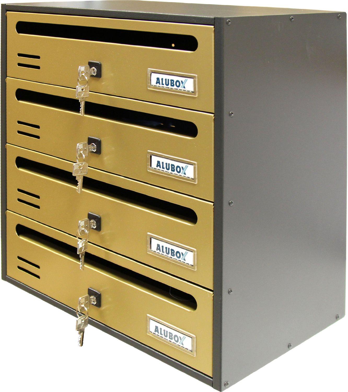 ALUBOX Cassetta Postale a 4 Posti per Condominio 385x250x430 mm 20C4ROBR Cubo
