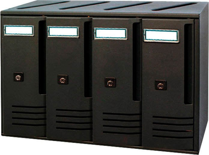 ALUBOX Cassetta Postale Condominio a 4 Posti con Chiave colore Ghisa - C4