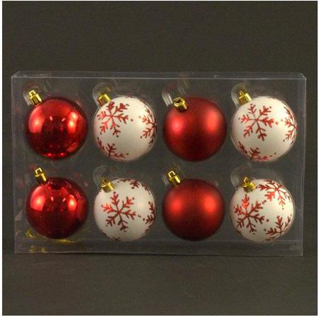 Albero Di Natale Diametro 60.Amicasa Palline Per Albero Di Natale Scatola 8 Sfere Diametro 60 Mm Rosso Bianco 121