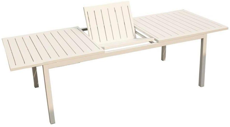 Tavolo Da Giardino Estensibile.Tavolo Allungabile Da Giardino Alluminio 202 263x100 Cm Colore Bianco Milos