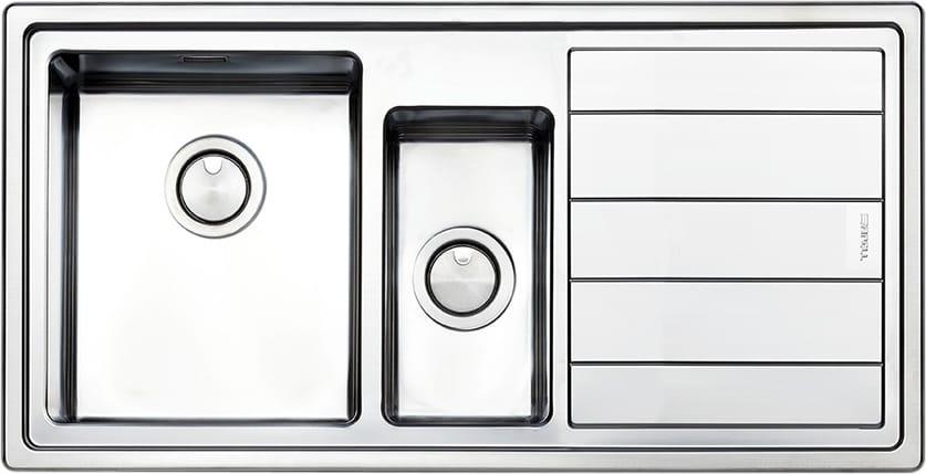 Lavello Cucina 1 Vasca e 1/2 da Incasso con Gocciolatoio Dx Larghezza 100  cm materiale Acciaio Inox finitura Spazzolato - LNP1002IRBC Linear Plus
