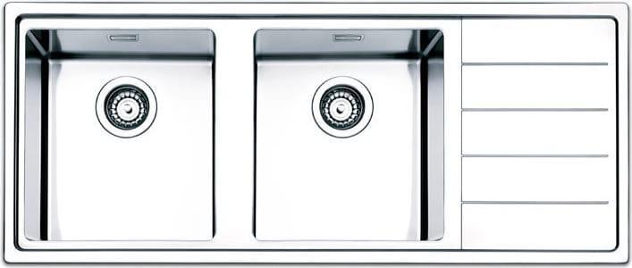 Lavello Cucina 2 Vasche Incasso con Gocciolatoio Dx Larghezza 116 cm  materiale Acciaio Inox finitura Spazzolata - LNP1162IRBC Serie Linear Plus