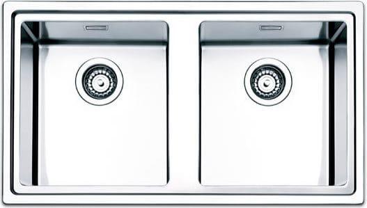 Lavello Cucina 2 Vasche Incasso Larghezza 86 cm materiale Acciaio Inox  finitura Spazzolato - LNP862IBC Serie Linear Plus