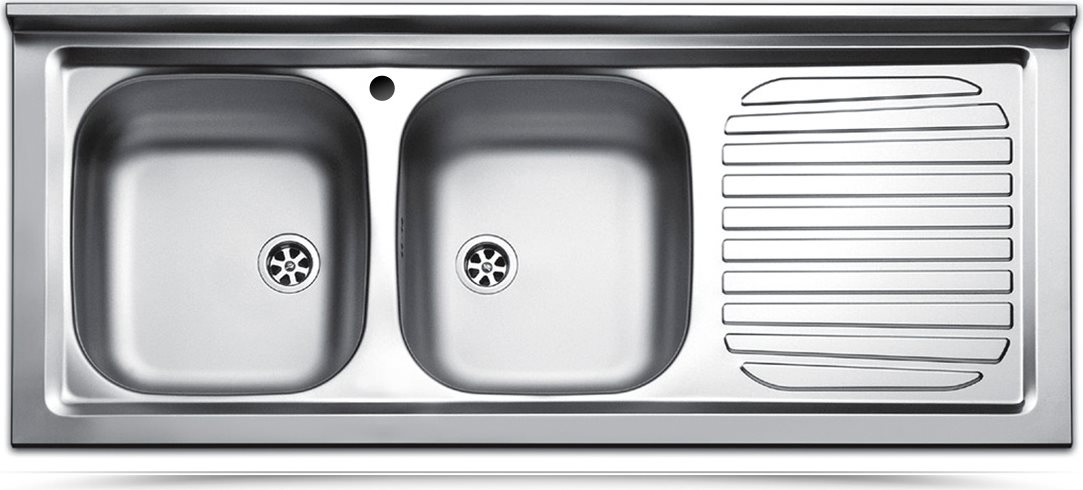 Apell Lavello Cucina Incasso 2 Vasche Con Gocciolatoio Dx Larghezza 120 Cm Materiale Acciaio