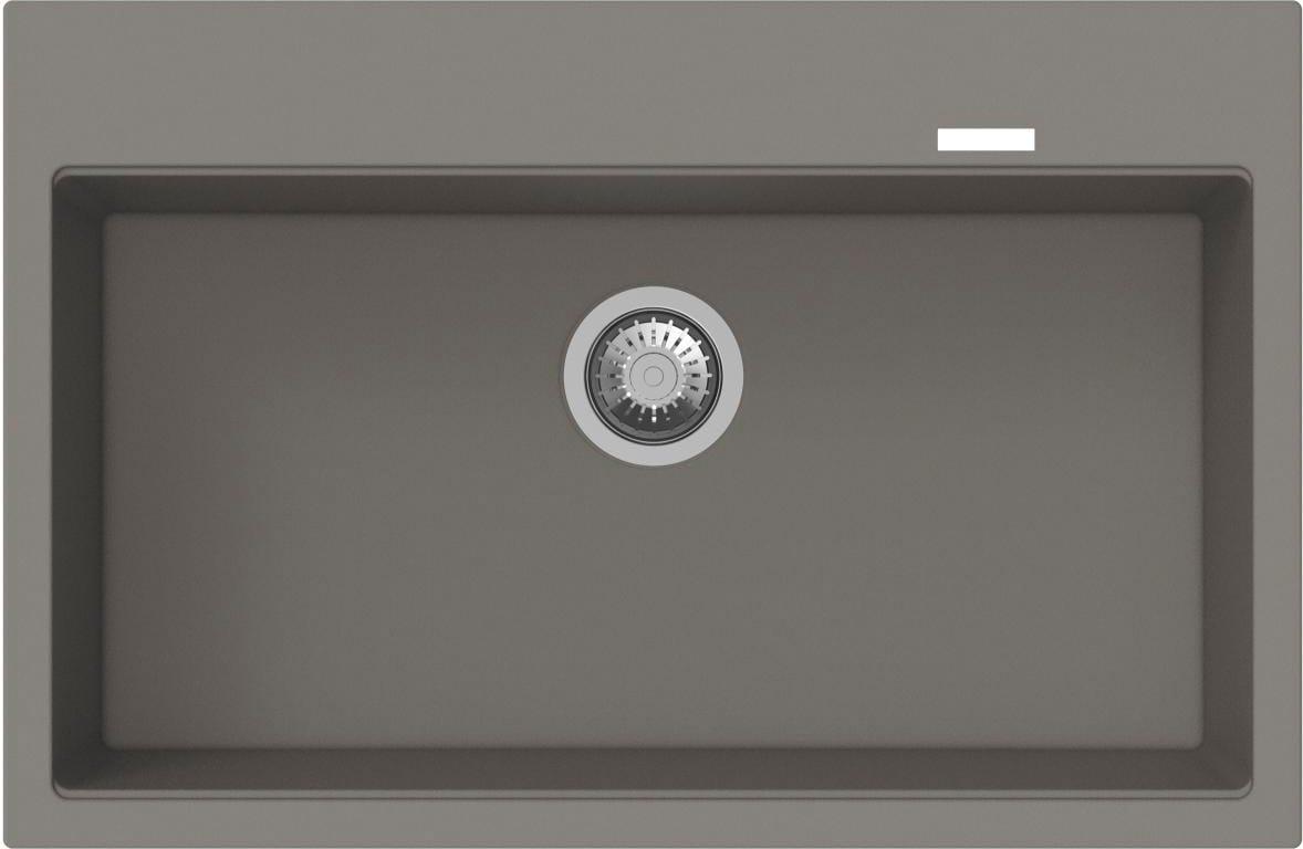 Lavello Cucina Fragranite 1 Vasca Incasso Larghezza 78 cm materiale Granito  colore Grigio Scuro - PTPL780GG Pietra Plus