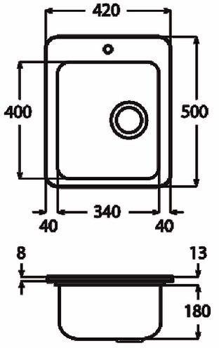 Apell lavello cucina incasso 1 vasca larghezza 42 cm materiale acciaio finitura spazzolata - Lavello cucina incasso ...