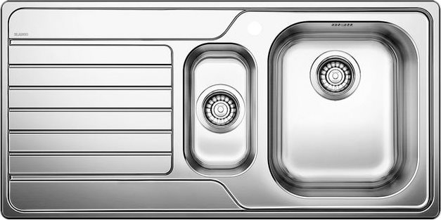 Lavelli Cucina 60 Cm.Blanco Lavello Cucina Incasso 1 Vasca E 1 2 Con Gocciolatoio Sx Larghezza 100 Cm Base 60 Cm Materiale Acciaio Inox 18 10 Finitura Spazzolata 1328104 Dinas 6 S