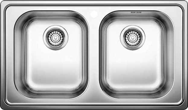 Lavello Cucina 2 Vasche Incasso Larghezza 86 cm Base 80 cm materiale  Acciaio Inox 18/10 finitura Spazzolata - 1328108 Dinas 8