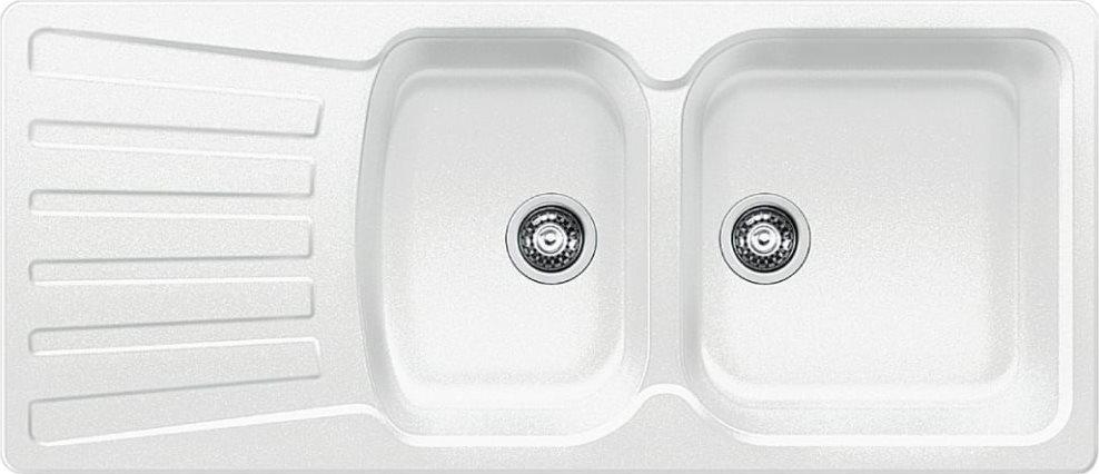 Lavello Cucina 2 Vasche Incasso con Gocciolatoio Larghezza 116 cm Base 80  cm materiale Silgranit colore Bianco - 1510492 Nova 8 S