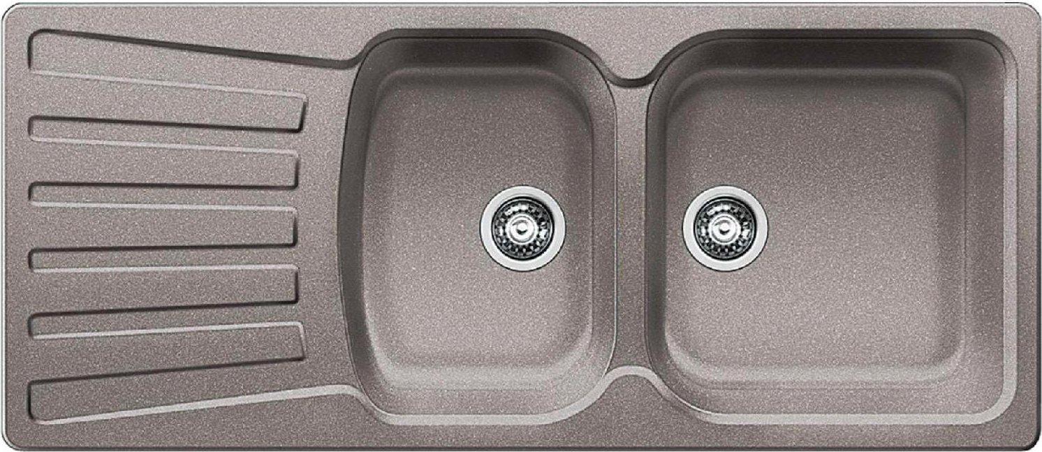Lavello Cucina 2 Vasche Incasso con Gocciolatoio Larghezza 116 cm Base 80  cm materiale Silgranit colore Alumetallic - 1511700 Nova 8 S