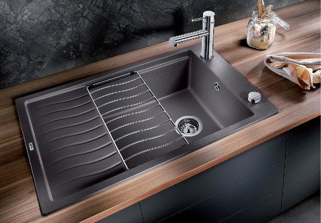 Lavello Cucina Fragranite 1 Vasca Incasso con Gocciolatoio Larghezza 78 cm  materiale SilGranit PuraDur colore Tartufo - ELON XL 6 S