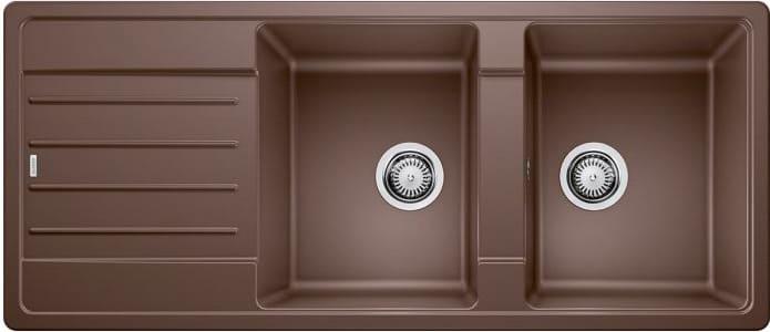 Lavello Cucina 2 Vasche Incasso con Gocciolatoio Larghezza 116 cm materiale  Silgranit colore Caffè - 1523168 Legra 8 S