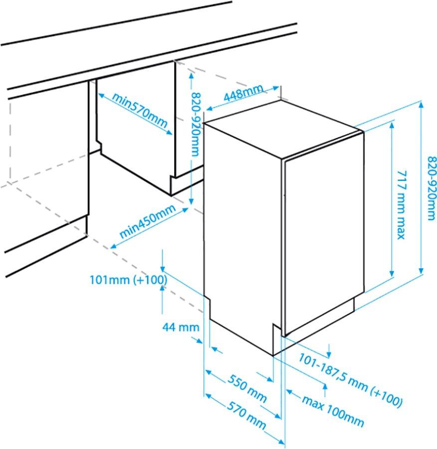 Lavastoviglie da incasso beko 45 cm slim dis15010 for Lavastoviglie da incasso 45 cm