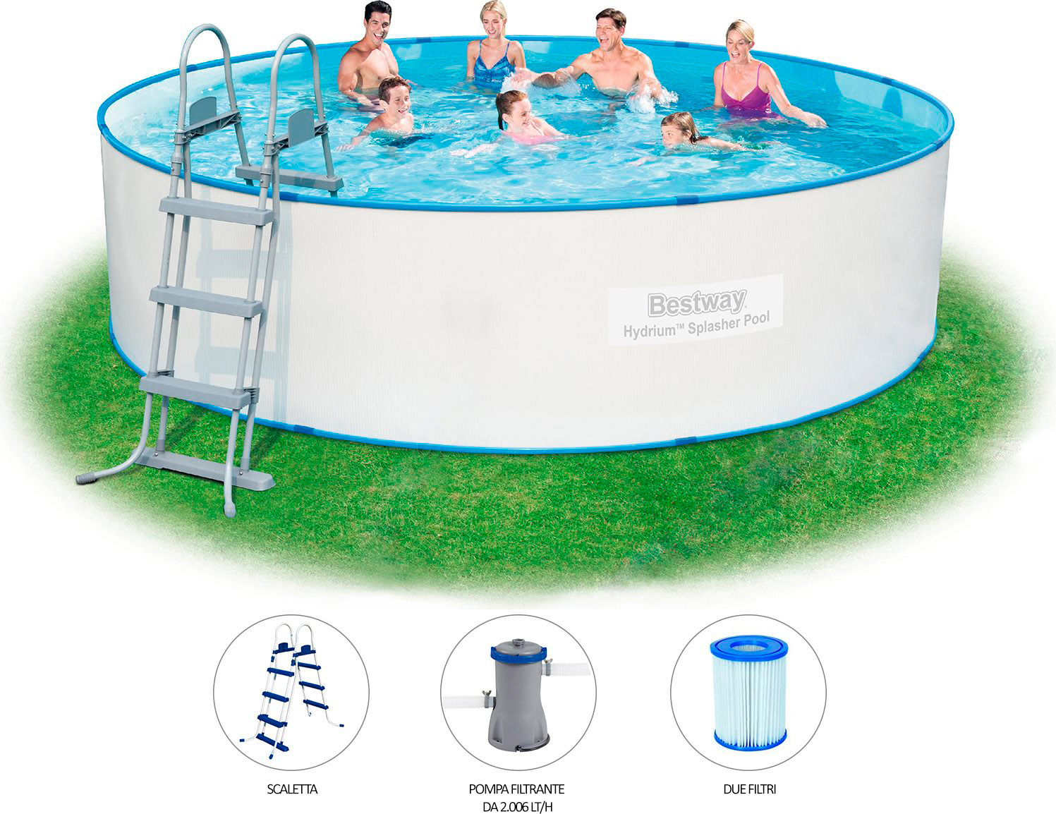 Piscina fuori terra rigida bestway in acciaio rotonda for Accessori piscine fuori terra bestway