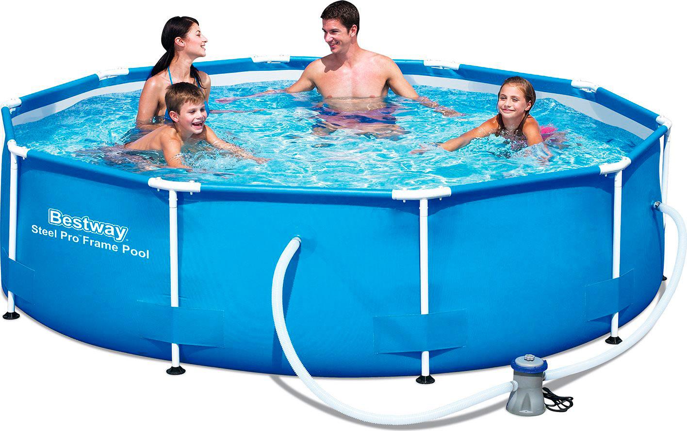 Piscina fuori terra bestway telaio portante rotonda 305x76 for Pompa x piscina esterna