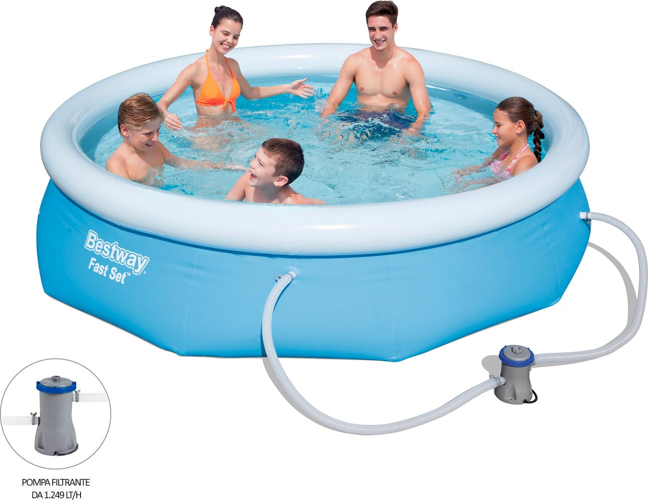 Piscina fuori terra bestway autoportante rotonda 305x76 h for Piscine fuori terra best way
