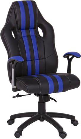 Sedia ufficio Poltrona direzionale girevole in ecopelle Dimensioni  63x64.5x111/121h cm colore Nero / Blu - 0710222 Spider
