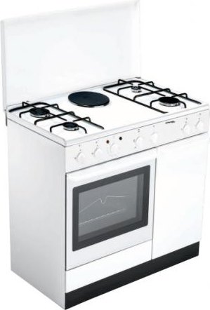 Cucina a Gas 4 Fuochi + 1 Piastra Forno Elettrico con Grill Larghezza x  Profondità 90x60 cm Classe energetica A con Coperchio e Vano portabombola  ...