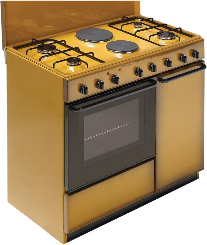 Cucina a Gas 4 Fuochi + 2 Piastre Forno Elettrico con Grill Larghezza x  Profondità 90x60 cm Classe energetica A con Coperchio e Vano portabombola  ...