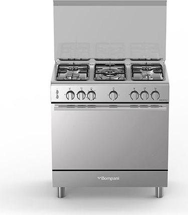 Cucina a Gas 5 Fuochi Forno a Gas con Grill Larghezza x Profondità 80x50 cm  con Coperchio colore Inox - BO853EG/N Serie Diva