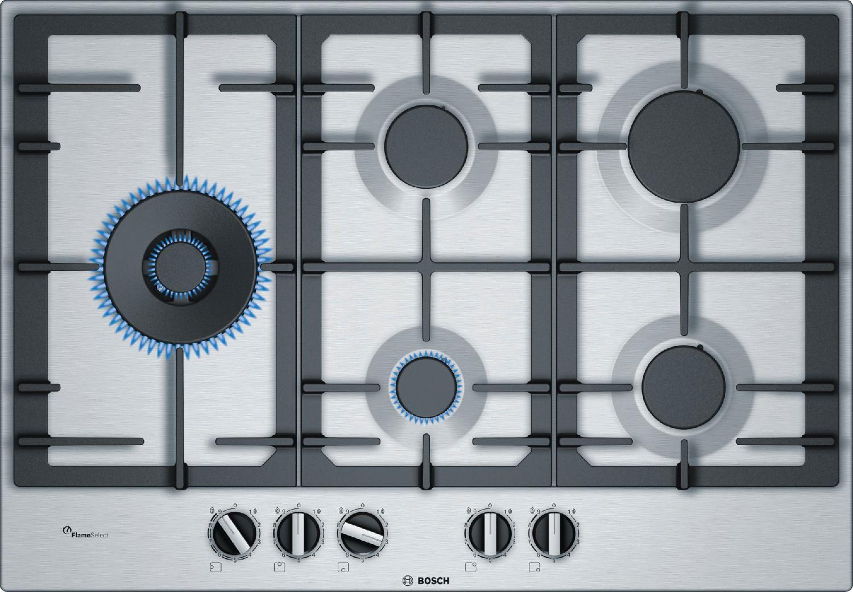 Bosch Piano cottura 5 Fuochi a gas da incasso (1 Bruciatore FastWok ...