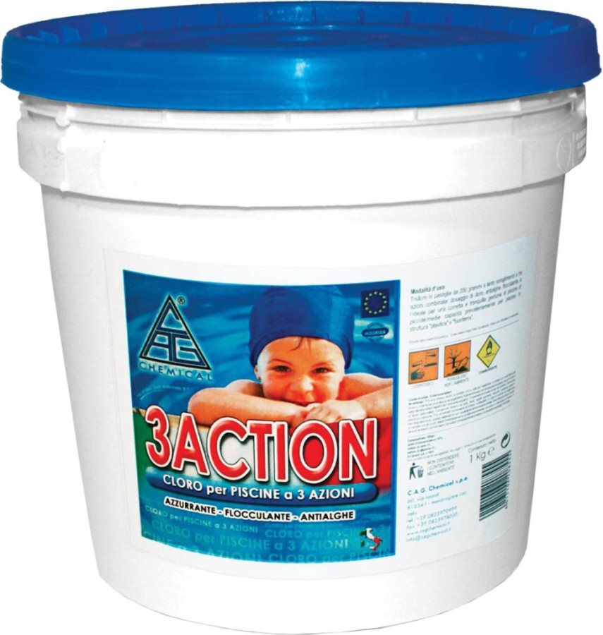 CHEMICAL 3 Action 5KG Cloro pastiglie per piscine pasticche Antialghe 5 kg - 3 Action