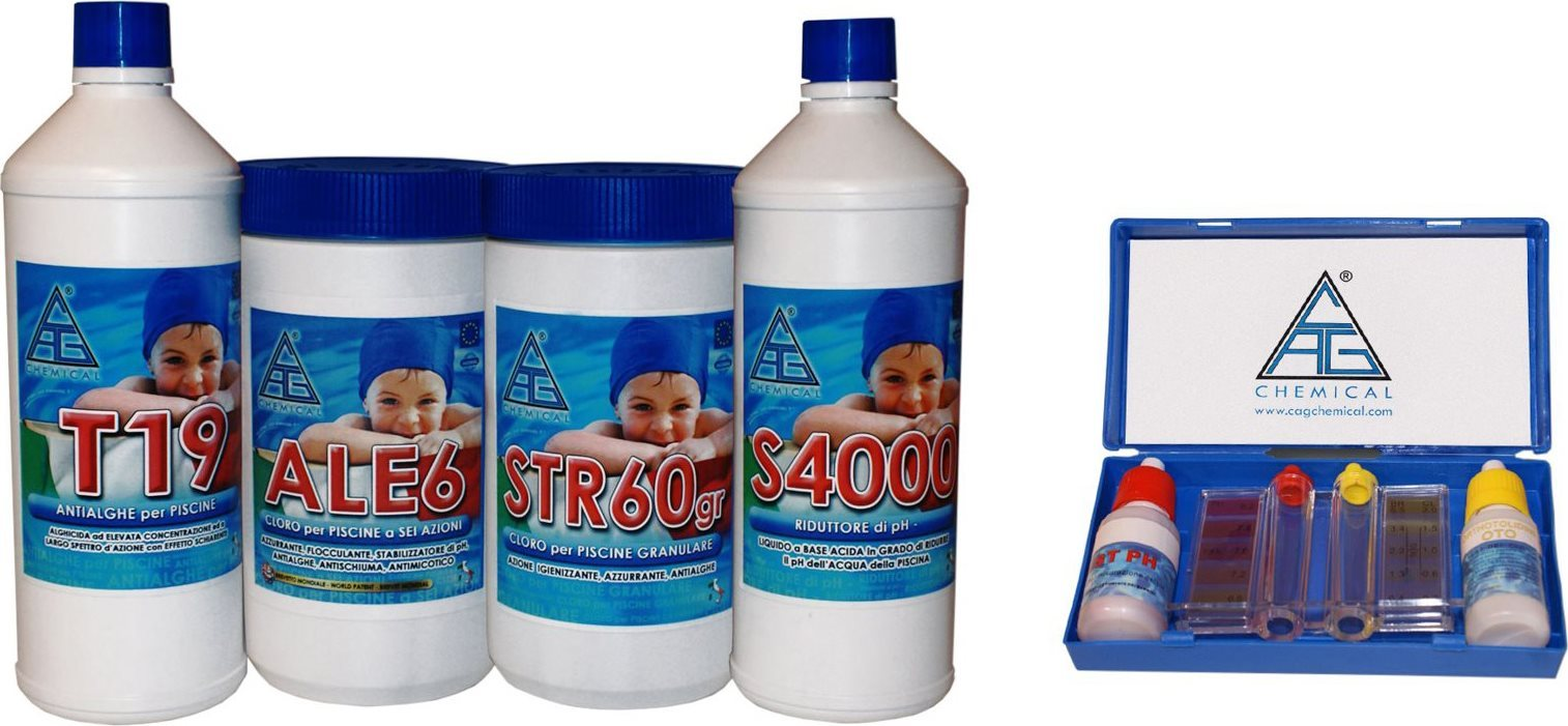 CHEMICAL Kit Pulizia Piscina 4+1 Cloro Disinfettante Antialghe Riduttore PH 4 ALL