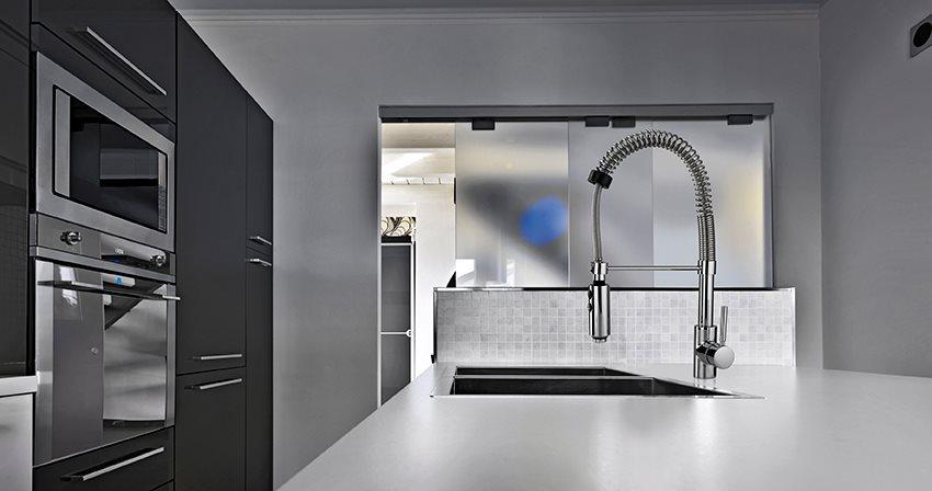 Crolla miscelatore cucina con doccetta estraibile rubinetto monocomando colore cromo hyperflex 594 - Miscelatore cucina con doccetta estraibile ...