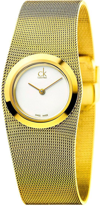 2df5332137317b Calvin Klein K3T23526 Orologio Donna Quarzo Cassa in Metallo Cinturino Oro
